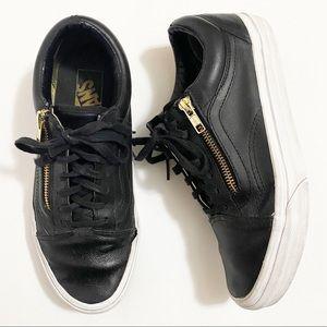 Vans Old Skool Black Leather w/ Gold Zipper - 7.5